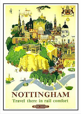 BRITISH RAILWAYS NOTTINGHAM VINTAGE RAILWAY POSTER SUPERB QUALITY A4 Poster