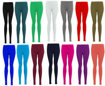 Womens Ladies New Plain Stretchy Elasticated Waist Full Length Legging COLOURS