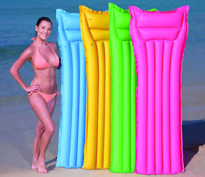 Inflatable Mat Lilo Lounger Air Bed Mattress Swimming Pool Beach Colour Choice