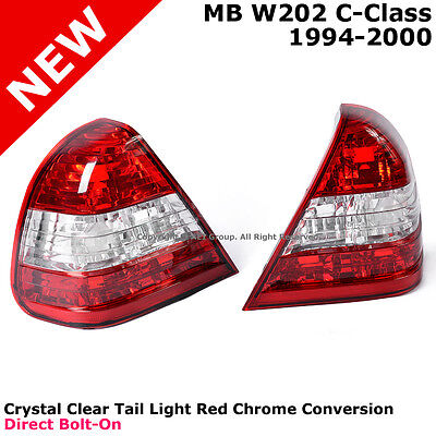 MB C-Class W202 94-00 Rear Bumper Tail Light Lamp Red Chrome Direct Replacement
