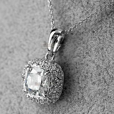 18k white gold gf made with SWAROVSKI crystal pendant necklace 2ct