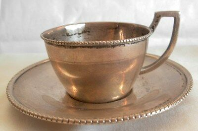 ANTIQUE AUSTRO HUNGARIAN SILVER CUP AND SAUCER - 70.5 grams-- THE MAKER  L & C