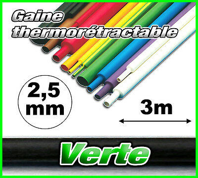 GV2.5-3# gaine thermorétractable verte 2,5mm 3m ratio 2/1  gaine thermo vert
