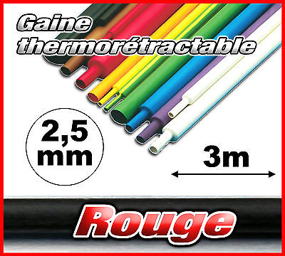 GR2.5-3# gaine thermorétractable rouge 2,5mm 3m ratio 2/1  gaine thermo rouge