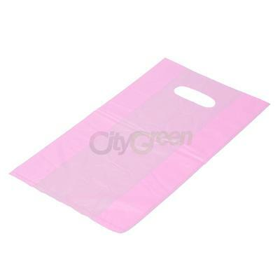 100 Qty.Pink Plastic T-Shirt Retail Shopping Bags w/ Handles Medium 7x3x12