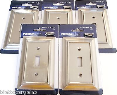 5 Peerless Satin Nickel Wall Switch Plate Cover Light Single Toggle W10087 Gang