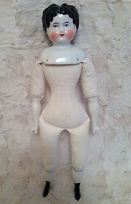 """Vintage 1970s China Head Doll Cloth Body Porcelain Arms/Legs Unmarked 14"""""""