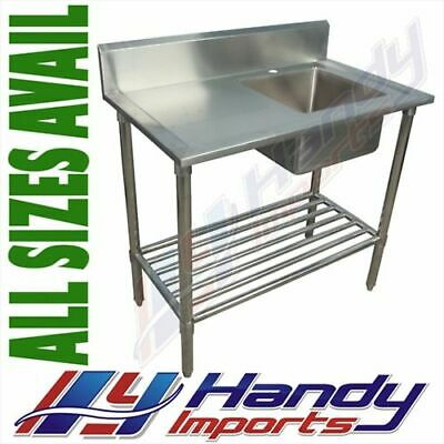 1300x600mm NEW COMMERCIAL SINGLE BOWL KITCHEN SINK #304 STAINLESS STEEL BENCH E0