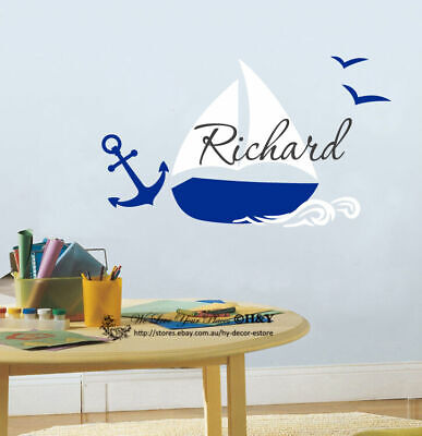 Boat Custom Personalised Wall Stickers Kids Nursery Boys Room Decor Decals Art