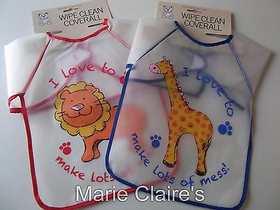Long Sleeve Wipe Clean Baby / Toddler Bib Apron Ideal For Child Craft & Paint