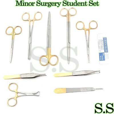 24 Pcs Minor Surgery Student Set With Gold Handle Surgical Instruments,S.s-0078