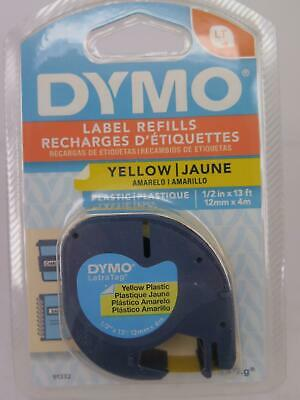 1 x Dymo Letratag Tape Label Black on Yellow 12mmx4M 91202 GENUINE #
