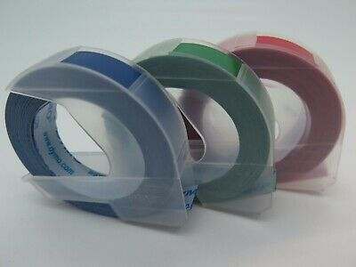 3 Pack Dymo Xpress Embossing Tape 9mm x 3M Assorted  Red Blue Green 1741671