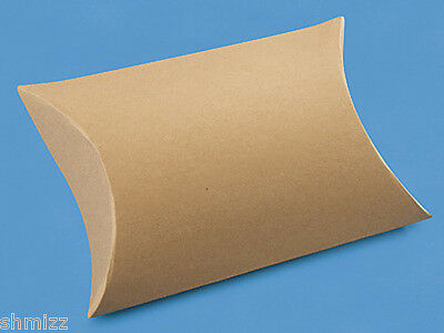 """24 Chipboard 4 1⁄2 x 4 1⁄2 x 1 1⁄2"""" Kraft Pillow Boxes favor gift Recycled"""