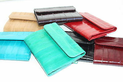 Genuine Eel Skin Lady French Trifold Wallet Id Credit Card Holder Flap Closed