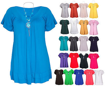 Womens New Short Sleeve Ladies V Neck Frill T-Shirt Bead Necklace Top Plus Size