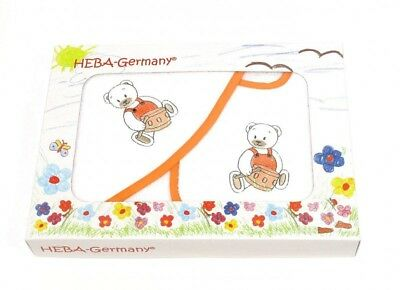 Badetuch und Latz - Set Teddy mit Trommel in orange von HOBEA-Germany