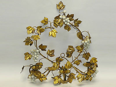 Elaborate Gilded Tole Metal Grape Vine Candle Sconce * Italy