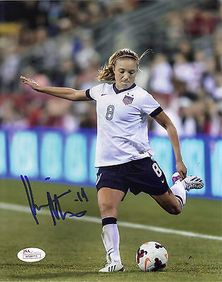 KRISTIE MEWIS SIGNED 8X10 WOMENS SOCCER NATIONAL TEAM USA JSA WITNESS PHOTO 2