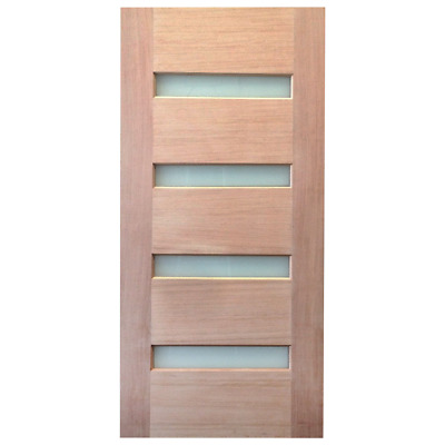 920x2040x40mm Entrance Solid Timber Veneer External Front Entry Door Glass 030B1