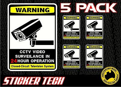 5 X Value Pack Warning Cctv Television Security Surveillance Sticker Decal Sign
