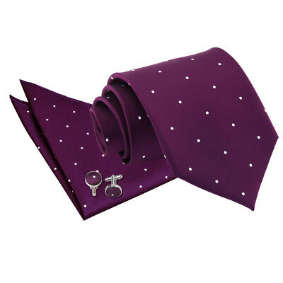 DQT Woven Pin Dot Dotted Purple Mens Classic Skinny Tie Hanky Cufflinks Set