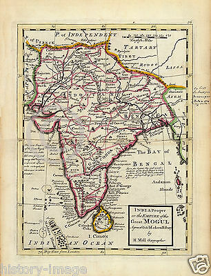 1736 Large Historic British Map India Empire Of Mogul