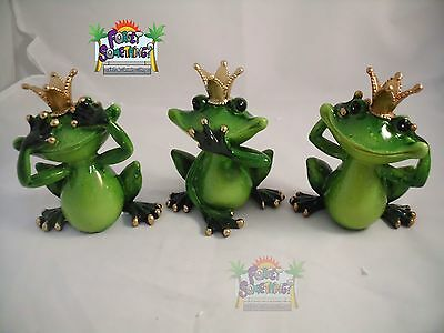 Brand New Poly Resin Green Frogs Collectibles Frog No See No Hear No Talk Wisdom