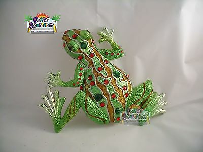 Poly Resin Statue Frog Figurine, Lucky Good Fortune Mosaic With Gems Wall Decor