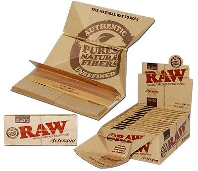 "RAW ""ARTESANO""  King Size  Cigarette Rolling Papers with tips and Tray"