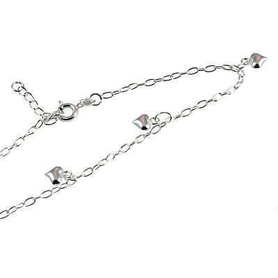 Sterling Silver Ankle Chain With Puffed Hearts - Anklet - 9 inch to 10 inch