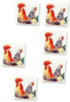 New boxed Reutter Porzellan dolls house miniature 13mm rooster tile set of 6