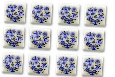 "New Reutter Porzellan dolls house miniature 13mm 1/2"" blue onion tile set of 12"