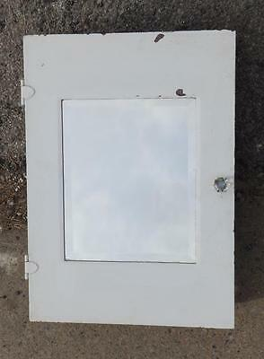 Vintage Metal Medicine Cabinet Cupboard Beveled Mirror Old  2995-14