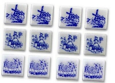 "New Reutter Porzellan dolls house miniature 13mm 1/2"" blue Dutch tile set of 12"