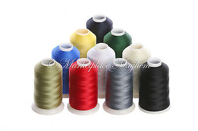 10 X Assorted/mixed Strong Bonded Nylon -Sewing Thread - 60S-Tex 45 - 500M Metre