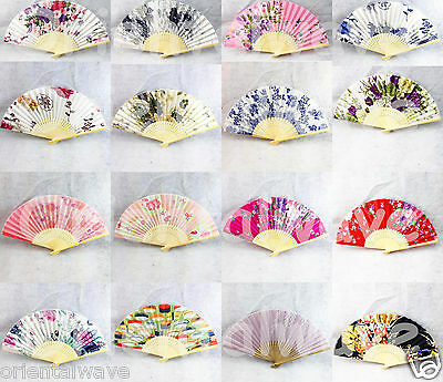 10PCS  Chinese/Japanese Silk Bamboo Pocket Spring Floral Fans Wholesale Lots New
