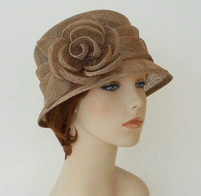 New Woman Church Derby Wedding Sinamay  Ascot Cloche Dress Hat 2931 taupe