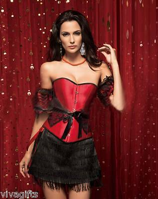Lovely 1920's Burlesque Classic Red Corset Costume with Black Lace - Sz  8/10