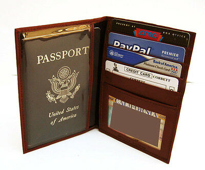Brown USA PASSPORT COVER Travel Leather ID Window Card DELUX Case Wallet 861