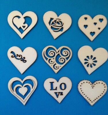 9 Small Natural Wooden Heart Love Valentines Wedding Card Making Embellishments