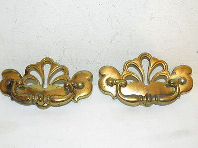 "Antique Set 2 Dresser Drawer Pulls Hardware Heavy Brass VFC Holes 3"" on centers"