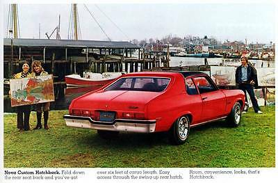 Old Print. Red 1973 Chevrolet Nova Custom Hatchback Auto Ad