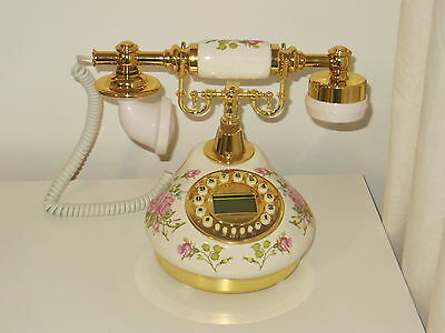 Classical Telephone Set Ceramic Vintage 60's Button Dial Phone Retro Antique New