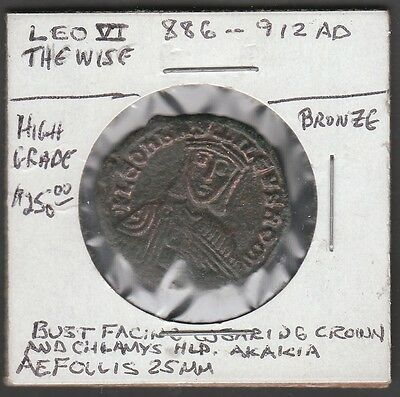 Leo Vi, The Wise, 886-912 A.d. High Grade Bronze Ancient Coin Br1696