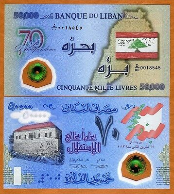 Lebanon, 50000 (50,000) Livres, 2013, P-NEW, Polymer, Commemorative, UNC