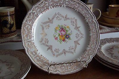 """6 Vintage Ultra Rare Edwin M. Knowles Gold Filigree Floral Center 7 1/4"""" Plate"""