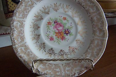 """Vintage Ultra Rare Edwin M. Knowles Gold Filigree Floral Center 6"""" Saucer"""