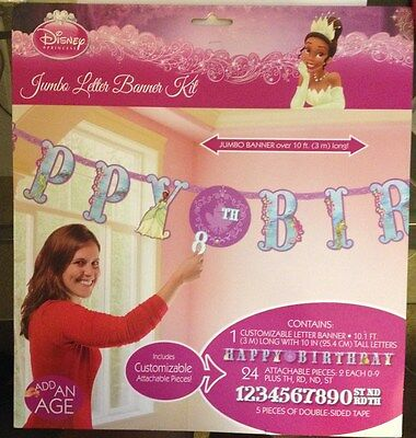 DISNEY PRINCESS AND THE FROG Jumbo Letter Banner Birthday Party Supplies Favors