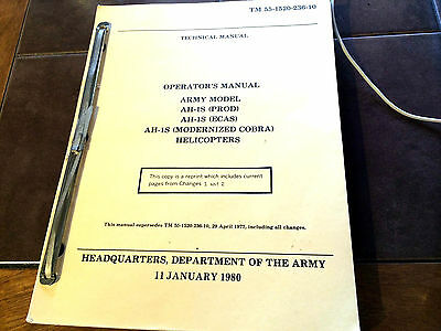 Vintage Bell AH-1S Cobra Helicopter Operator's Manual